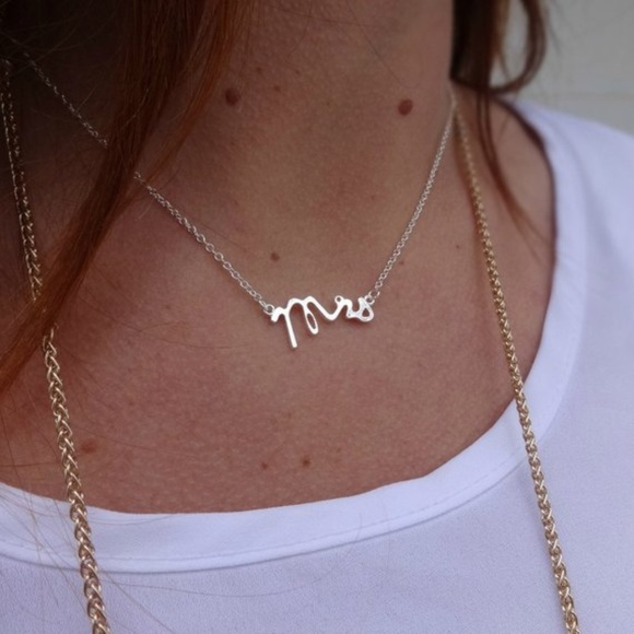 Inspired Closet Jewelry - Gold Mrs Necklace • Great Gift for Brides